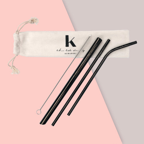 3 reusable metal straws with brush