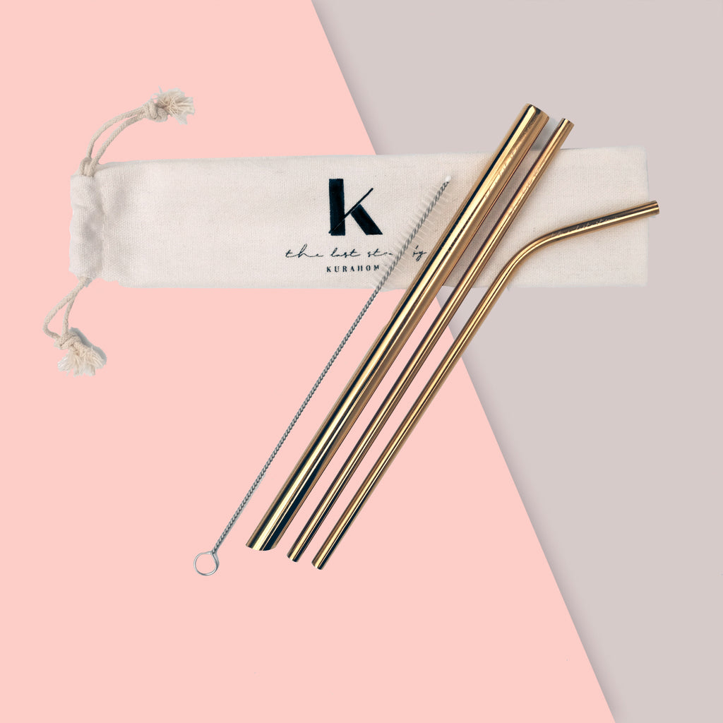 gold reusable metal straws with pouch