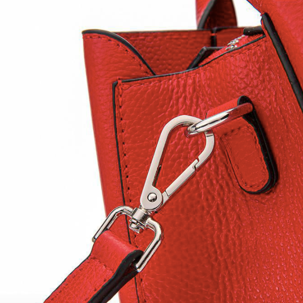 Genuine Leather Tote Bag with Buckle