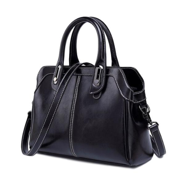 Genuine Leather Top Handle Handbag - see colours
