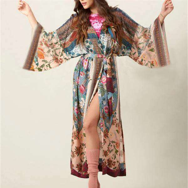 Vintage Floral Print Swimsuit Cover-up Kimono - GirlBuys