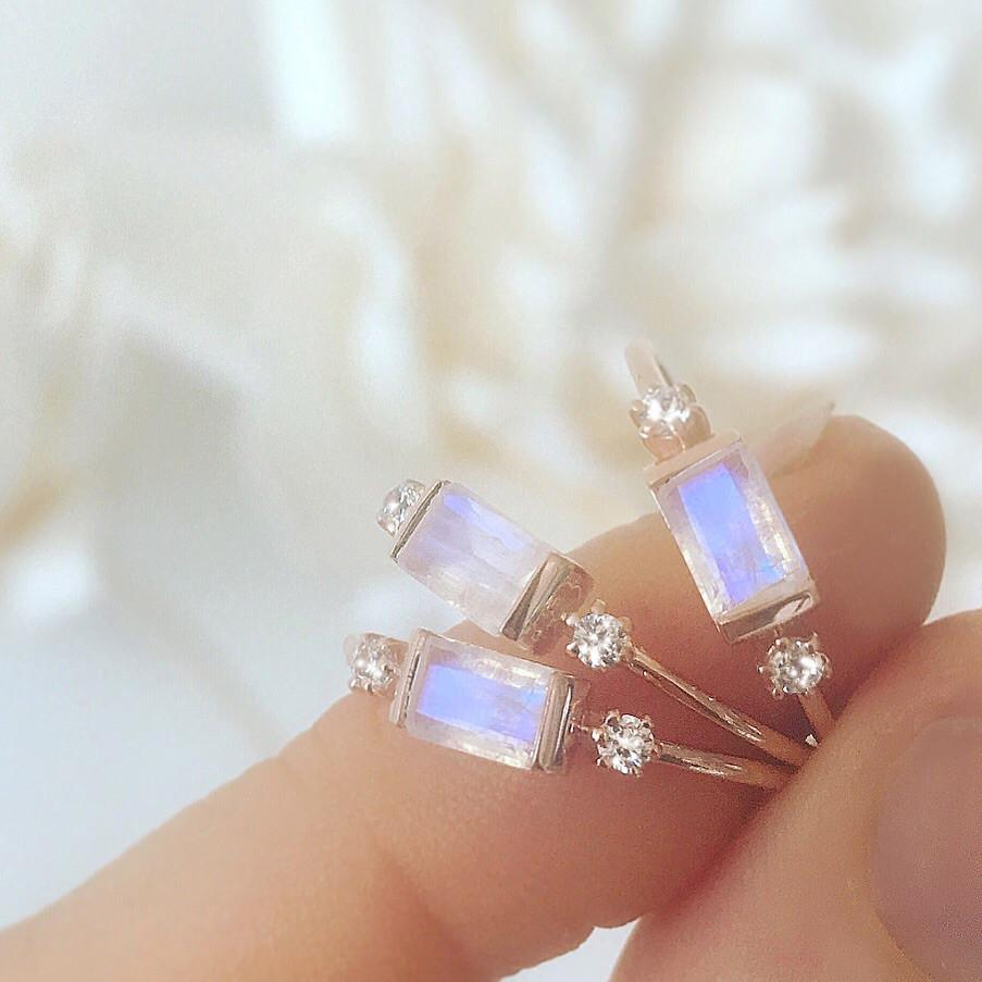 Rose Gold Rainbow Moonstone and Diamond Sky Ring