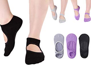 Yoga Socks for Women Non Slip Socks Pilates Ballet Barre Socks with Grips Anti-Skid Sox(Size 5-9)