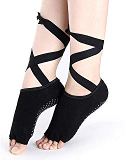 Yoga Socks, MakorioLLC Open Toe Barre Yoga Socks Non-slip Comfortable Breathable Dancing Yoga Pilates Socks Black for Women