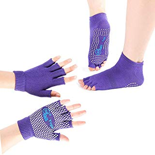 Yhao Professional Non Slip Yoga Women Pilates Socks and Gloves Set With Grip Skid (Purple Toeless)