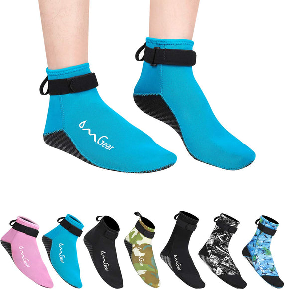 Water Socks Neoprene Socks Beach Booties Shoes 3mm Glued Blind Stitched Anti-Slip Wetsuit Boots Fin Swim Socks for Water Sports Outdoor Activities Home Slippers