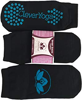 Yoga Socks - Non Slip Grip Cotton Barre Socks for Sports Exercise Pilates Barre - Unisex Women and Men (3 pairs)