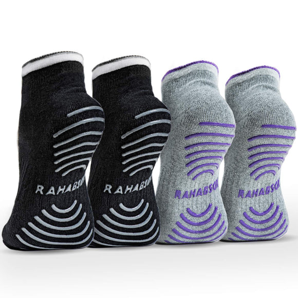 Rahabsox Best Non Slip Skid Yoga Pilates Socks with Grips Cotton for Women (4 Packs)