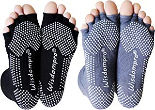 Wisdompro 2 Pairs Toeless Half Toe Yoga Socks with Anti Slip Grip for Women & Men