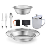 Stainless Steel Camping Tableware (7PCS)