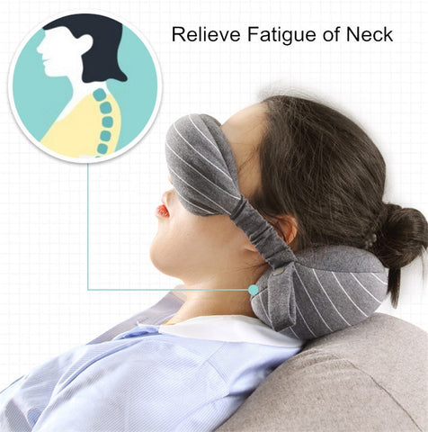 Multi-Function Travel Neck Pillow, Eye Mask & Storage Bag