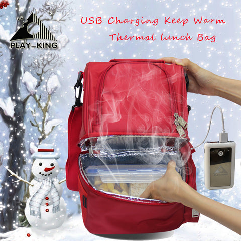 Portable Insulated Lunch Bag, USB Heated