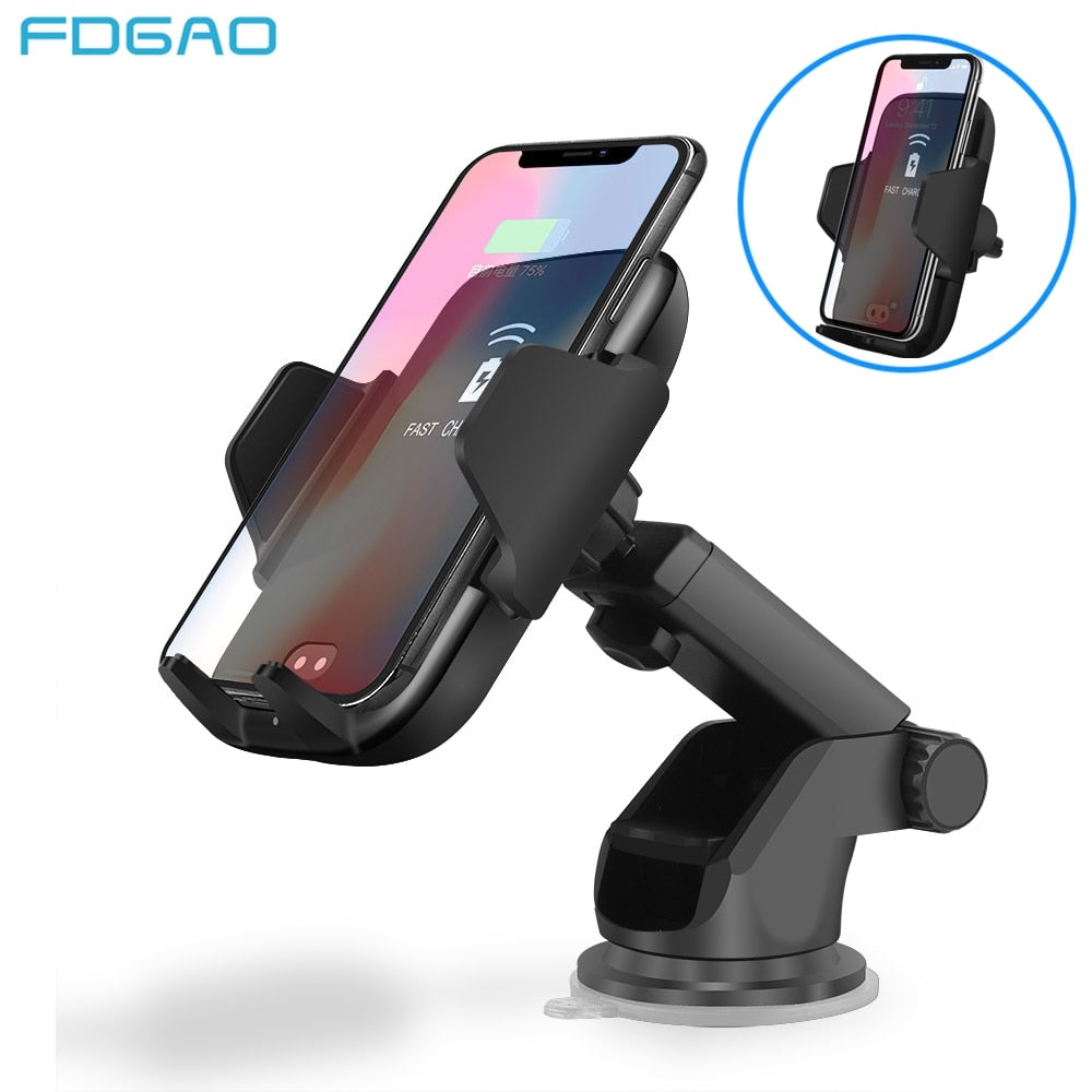 Lighting Clamp with Automatic Infrared Sensor Qi Fast Wireless Car Charger for Smartphones