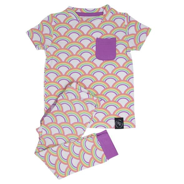 Bamboo Short Sleeve Pj Set w/ Pants - Rocking Rainbow