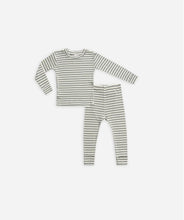 Load image into Gallery viewer, Rylee + Cru Ribbed Pajama Set/Spruce Stripe