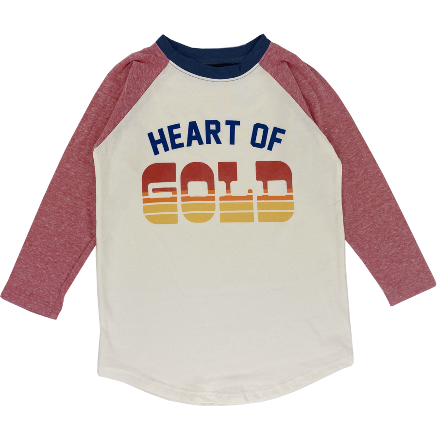 Tiny Whales - Heart of Gold LS Raglan - Natural/Tri Red