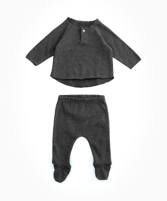 Play Up - Organic Cotton Top & Footed Bottoms Set - Rasp