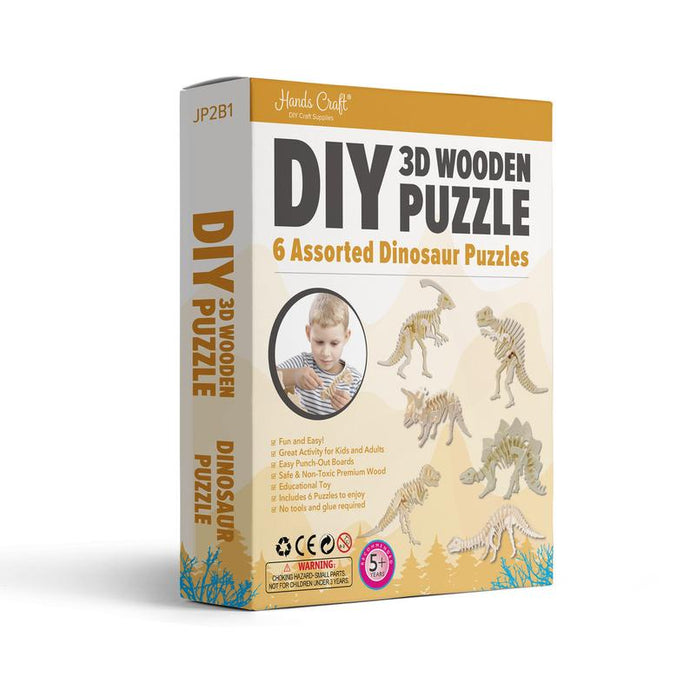 Hands Craft - DIY 3D Wooden Puzzle Dinosaur- 6 ct.