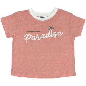 Tiny Whales - Another Day in Paradise Girls Boxy Tee - Tri Coral