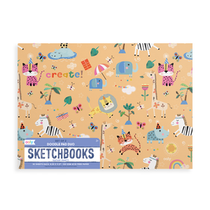 Ooly - Doodle Pad Duo Sketchbooks: Safari Party Set of 2