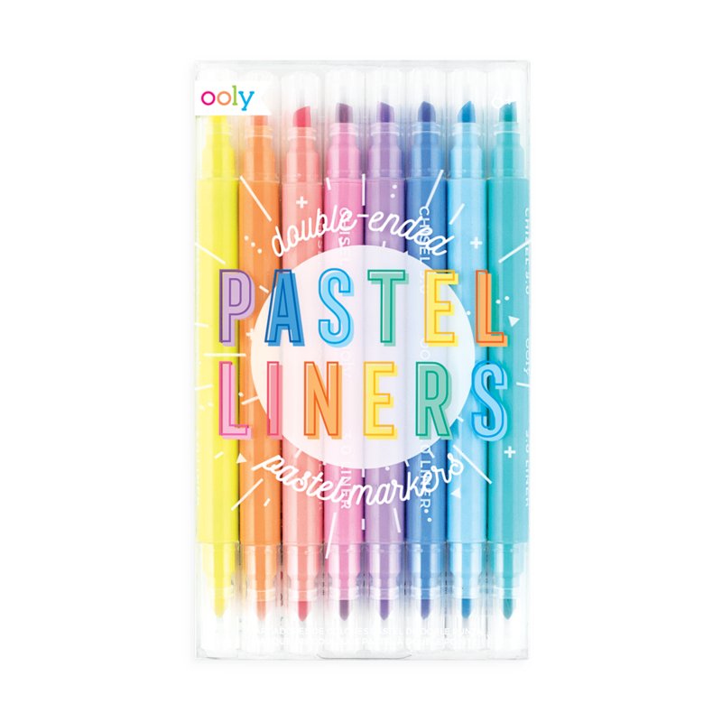 Ooly - Pastel Liners Double Ended Markers - Set of 8