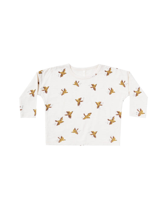Rylee + Cru - Long Sleeve Boxy Tee - Ivory Songbirds