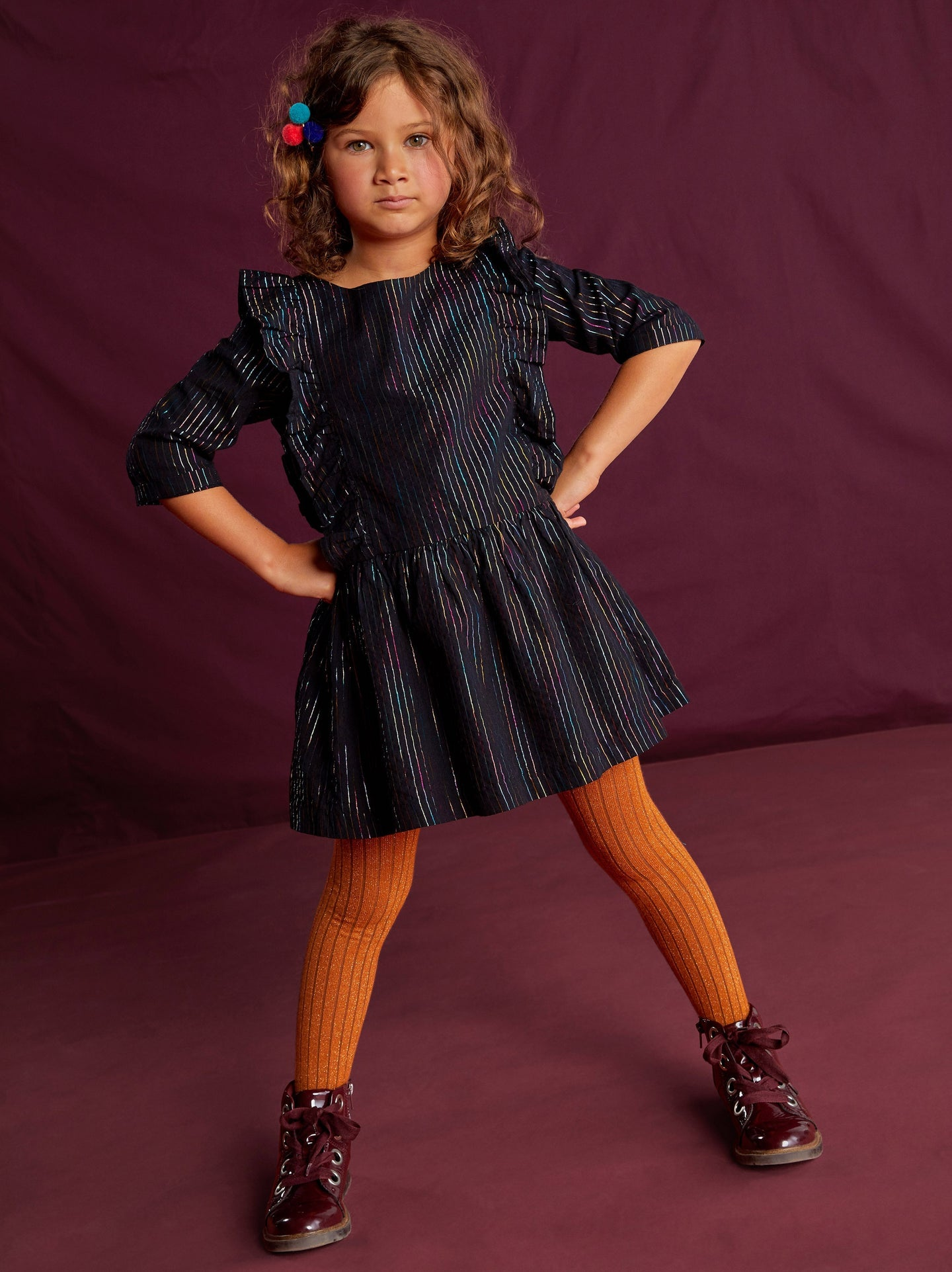 Tea Collection - Rainbow Metallic Ruffle Dress - Jet Black