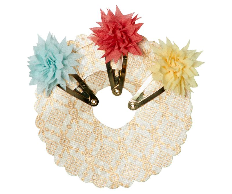 Maileg Mini Dahlia Flower Clips 3 Pc - Tricolor Summer