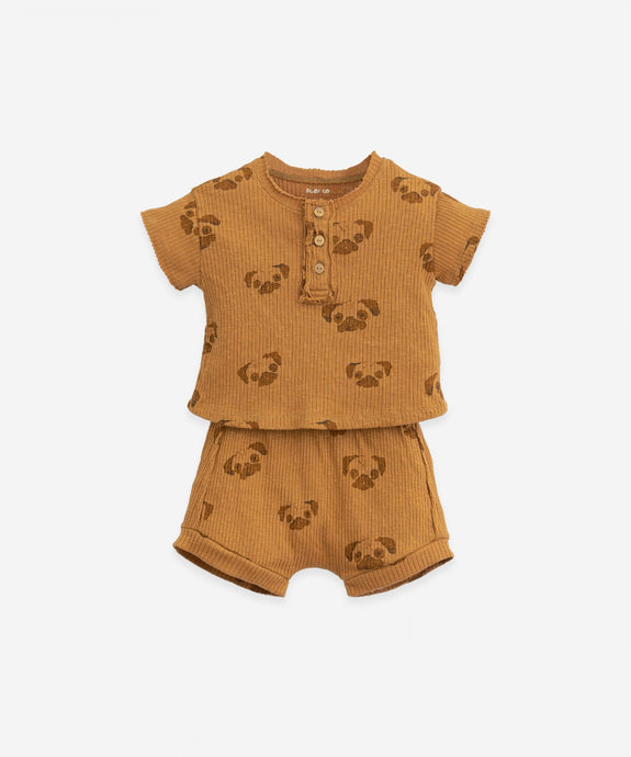 Play Up - Organic Pug Print Tee & Shorts Set - Hazel