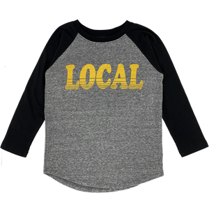 Tiny Whales - Local LS Raglan - Tri Gray/Black