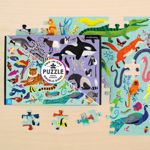 Mudpuppy - Two In One Animal Kingdom Puzzle