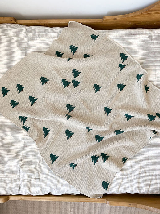 Fin & Vince - Knit Pine Tree Blanket - Baby 30 x 40in