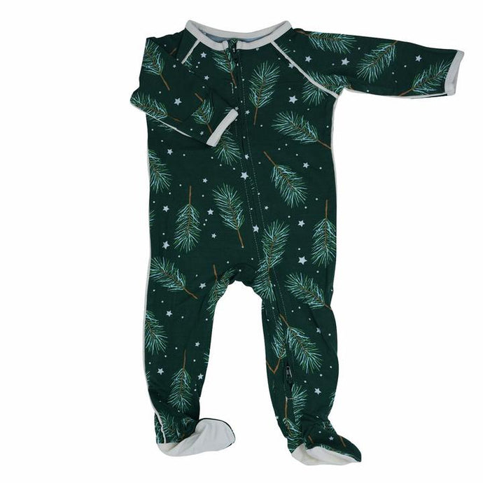 Sweet Bamboo - Bamboo Piped Zipper Footie - Pine Sprigs