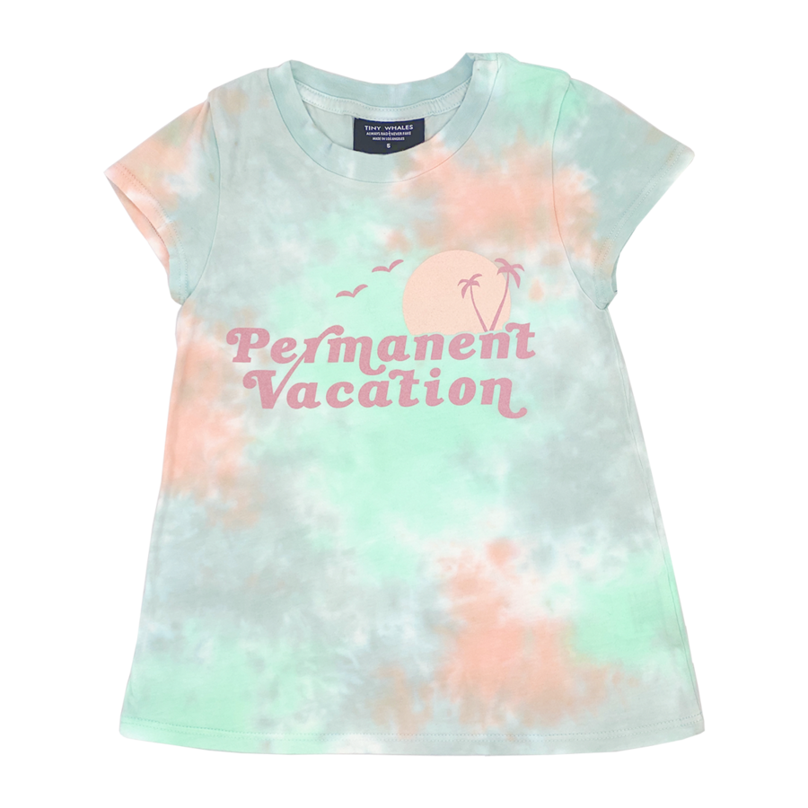 Permanent Vacation Girls Crew Neck Tee - Tie Dye