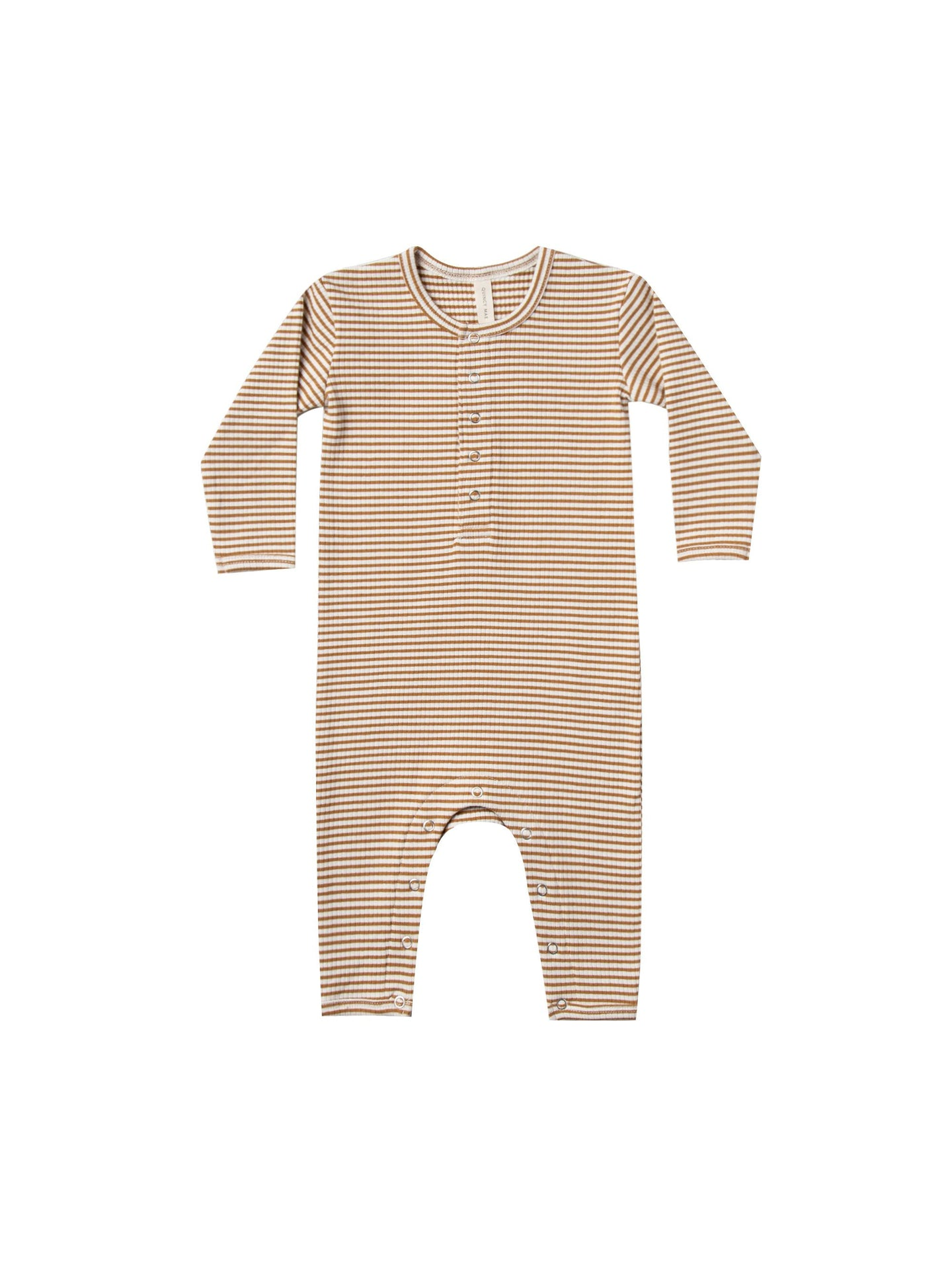 Quincy Mae - Organic Ribbed Baby Jumpsuit - Walnut Stripe