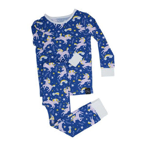 Sweet Bamboo - Big Kid Bamboo Pj Set - Blue Unicorn Galaxy