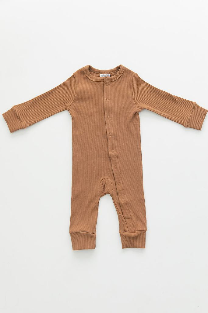 Mebie Baby - Mustard Organic Cotton Ribbed Footless One-Piece