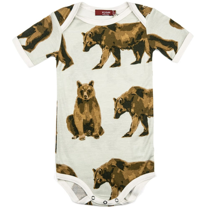 Milkbarn - Bamboo One Piece Shortsleeve Bodysuit - Bear