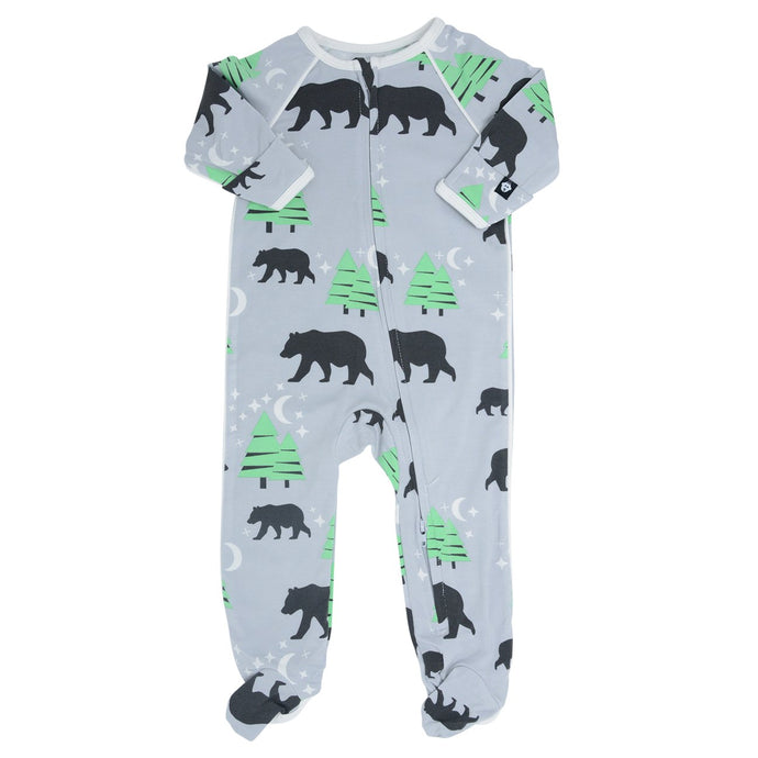 Sweet Bamboo - Piped Footie - Brave Bear Gray