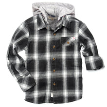 Load image into Gallery viewer, Appaman - Glen Hooded Shirt - Greyscale Plaid