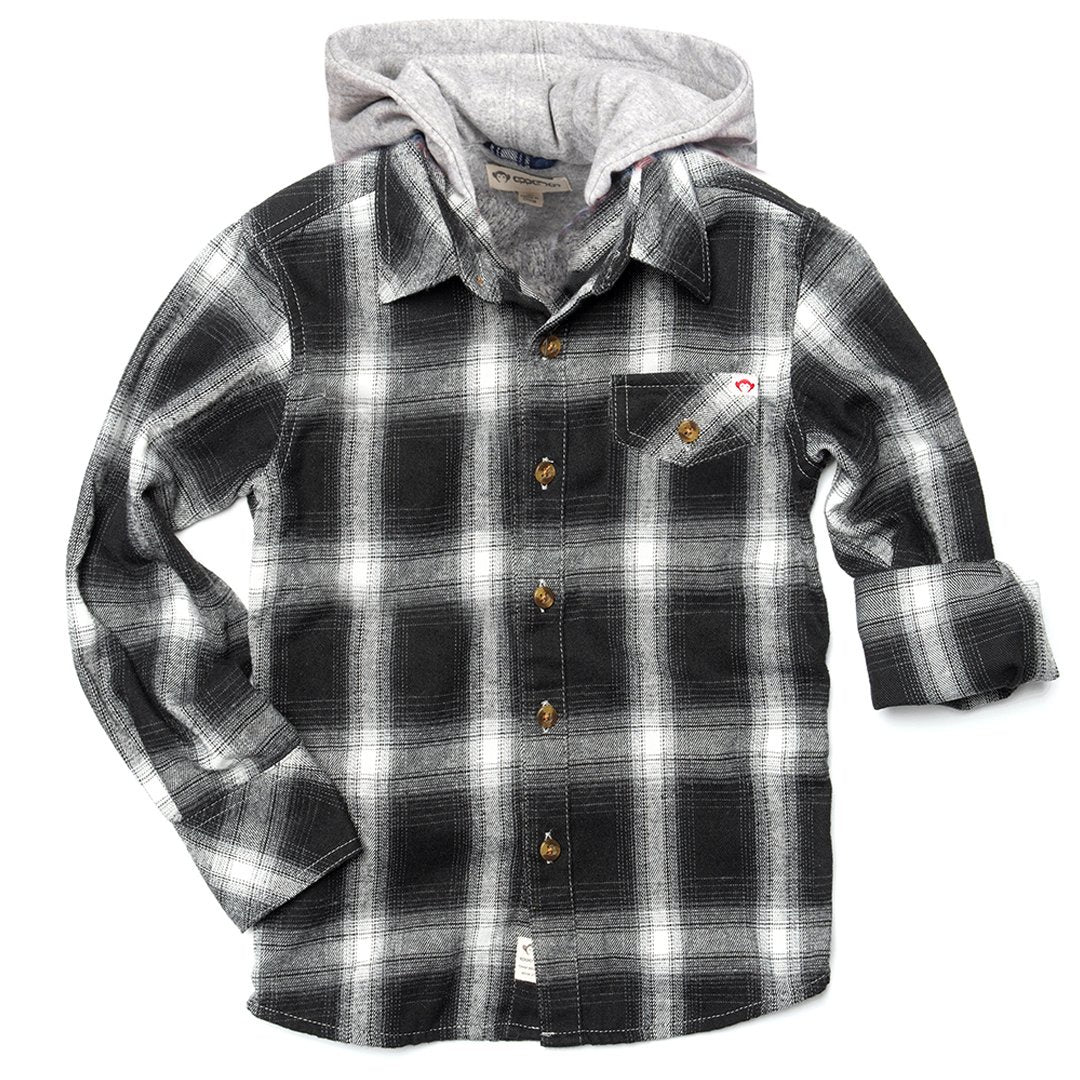 Appaman - Glen Hooded Shirt - Greyscale Plaid