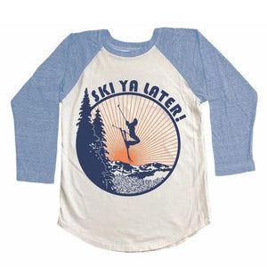 Tiny Whales - Ski Ya Later Raglan - Natural/Tri Blue