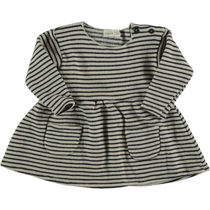 Organic Striped Warm Fleece Dress - Stone