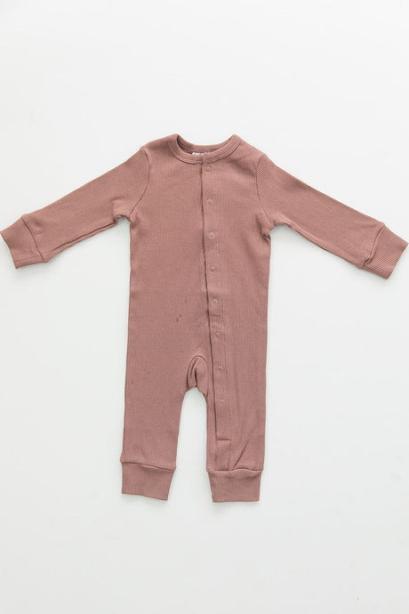 Dusty Rose Organic Cotton Ribbed Footless One-Piece