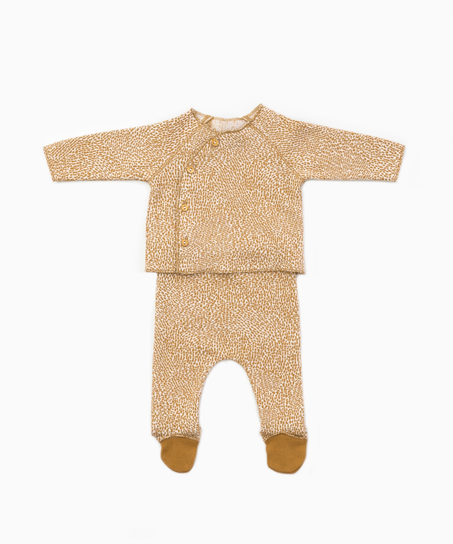 Play Up - Organic Cotton Top & Footed Bottoms Set - Raw