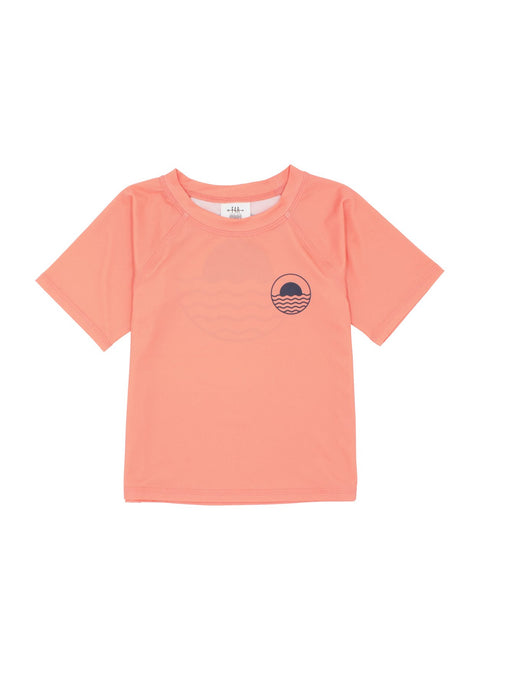 Baby Boy Icon Rash Top - Coral  Crush