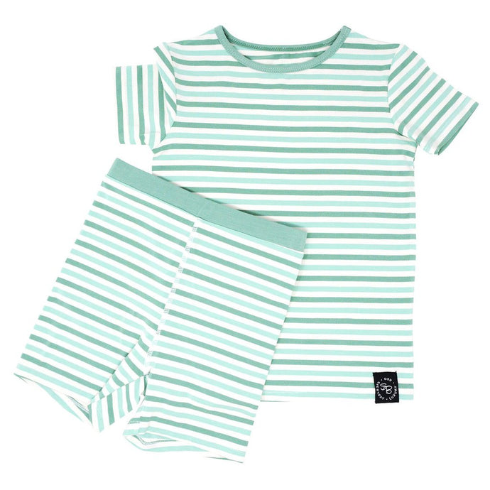 Sweet Bamboo - Summer Pj's Set - Green & Aqua Stripe