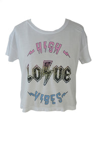 Flowers By Zoe - Cropped High Love Vibes Tee - White
