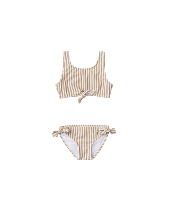 Rylee + Cru - Striped Knotted Bikini - Almond