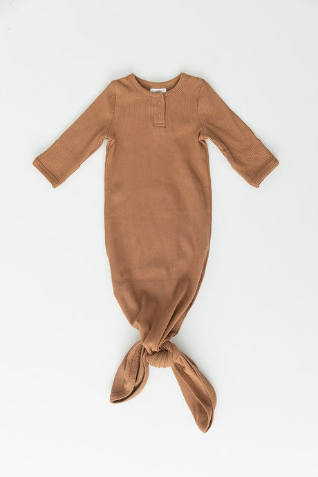 Mebie Baby - Mustard Organic Cotton Ribbed Knot Gown